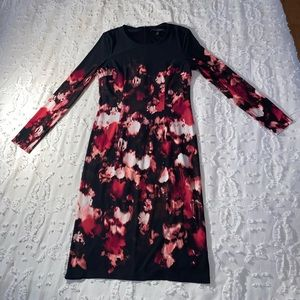 WHBM Pink & Black Floral Print Dress